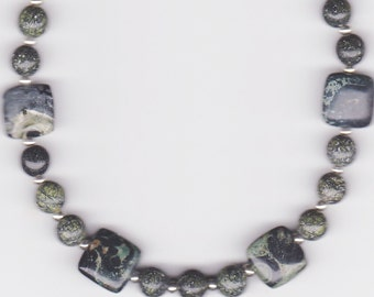Handmade Jewelry, Beaded Anklet, Anklet Bracelet, Kambaba Green Anklet, Russian Jade Anklet, Kambaba Jasper Anklet Bracelet, Beadwork