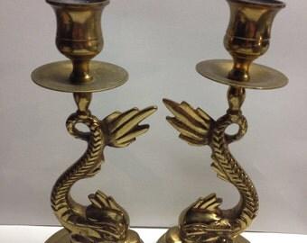 Vintage Mid Century Candle Holders 2  Brass Bronze Fish Serpent 7.5 x 3.4