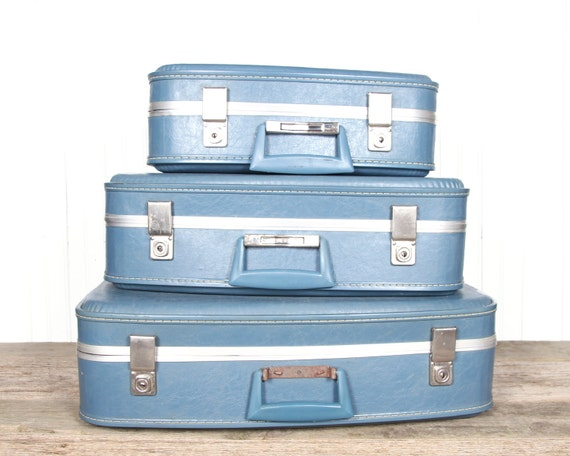Suitcases Luggage / Vintage Blue Luggage / Blue Nesting