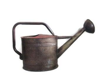 Vintage Galvanized Watering Pot Garden Outdoor Gardening Plant Care