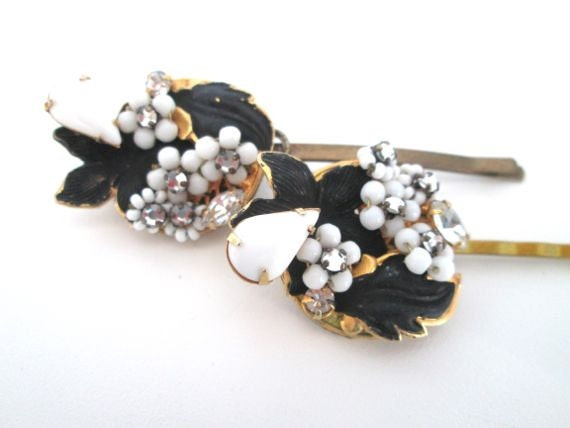 Autumn Fashion Hairpins Vintage Jewelry Repuposed Christmas Hair Accessories