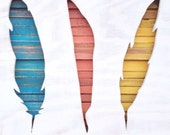 Reclaimed Wood Art - Shikoba - Feathers - Native