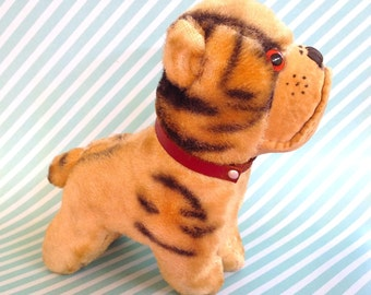 Vintage Kitsch 1940s Stuffed Plush Straw Filled Bull Dog Puppy with Red Colar