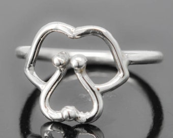 Dog ring, dog face ring, cute dog, 925 sterling silver, doggy, kids ring, kids jewelry