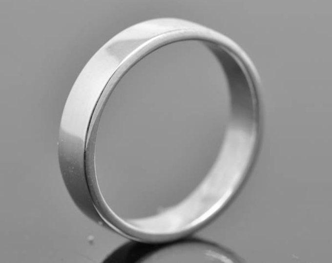 14K palladium white gold ring, 4mm x 1mm, flat, wedding band, wedding ring, square, mens wedding ring, mens wedding band, size up to 12