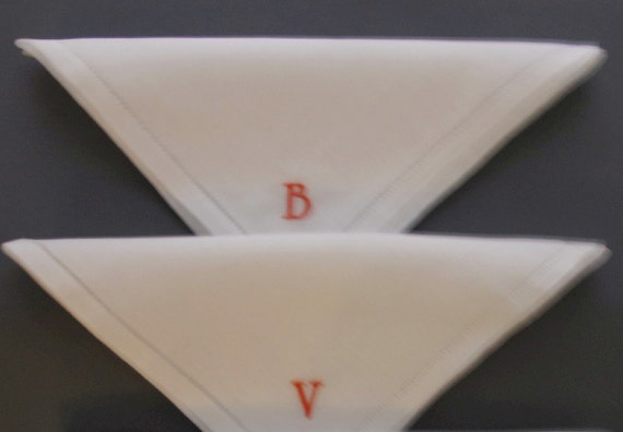 Embroidered Personalized 100% Linen Handkerchiefs.  Set of 2