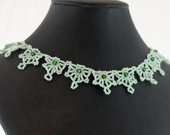 Light Green Bead Lace  Necklace