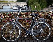 Bicycle Among Love - Locks of Love on the River Siene - Paris, France 4x6, 5x7 or 8x10 Travel Photography Fine WallArt