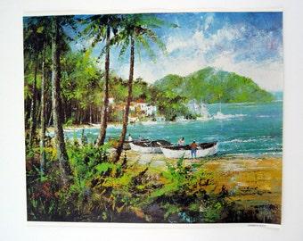 Vintage 1970's Jack Laycox Carribean Beach Print