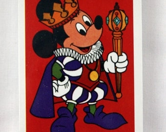 Vintage 1980's Disney Mickey Mouse King Mickey Red Playing Cards