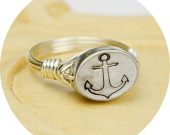 Anchor Ring- Sterling Silver, Yellow OR Rose Gold Filled Wire Wrapped Ring with Hand Stamped Pewter Bead-Any Size 4,5,6,7,8,9,10,11,12,13,14