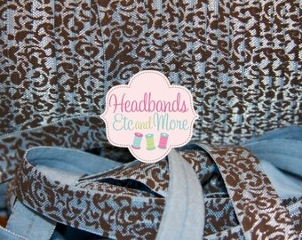 "FREE Shipping 25.00 5/8"" Blue Damask w/ Chocolate Brown Fold Over Elastic FOE You Choose Length DIY Headbands"