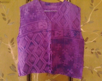 80s baggy purple aztec design sleeveless shirt