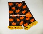 2 Black Crow and Pumpkins Halloween Dish Towels, Tea Towels, Spooky Fun