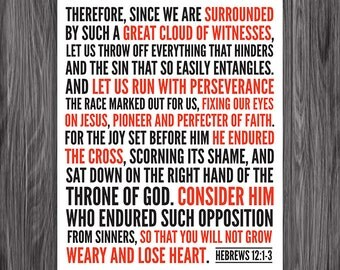Hebrews 12:1-3. Fix Our Eyes On Jesus. 8x10. DIY Printable Christian Poster. Bible Verse.