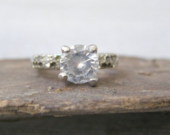 Vintage tiny faux diamond ring, Silver tone prong clear diamond shape Ring,  size 5.5 USA, Hollywood Glam Jewelry, Girl princess Xmas gift