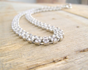 Two strand Clear Rhinestone choker, Retro elegant Bride Necklace, Classic Hollywood Glam evening fashion, Statement trendy jewelry Necklace