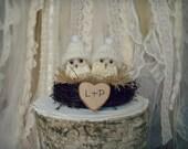 Owls wedding cake topper-Barn owls cake topper-Rustic cake topper-Rustic wedding-OWLS-snow owls