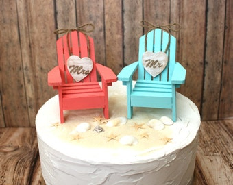 Beach-wedding cake topper-Adirondack chairs-aqua-blue-coral-destination wedding-his and hers-bride and groom-beach wedding