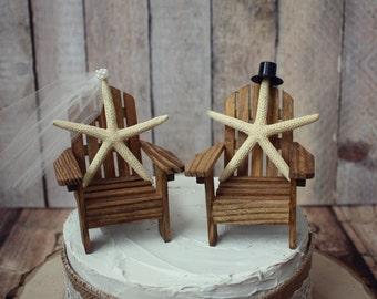 Adirondack beach wedding chairs-Star fish-Adirondack chairs-wedding cake topper-beach chairs-beach wedding-destination wedding-beach-custom