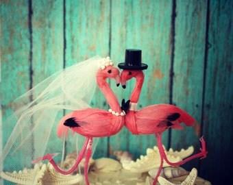 Flamingo wedding cake topper-bride-groom-Mr and Mrs-destination wedding-beach wedding-pink flamingos-nautical wedding