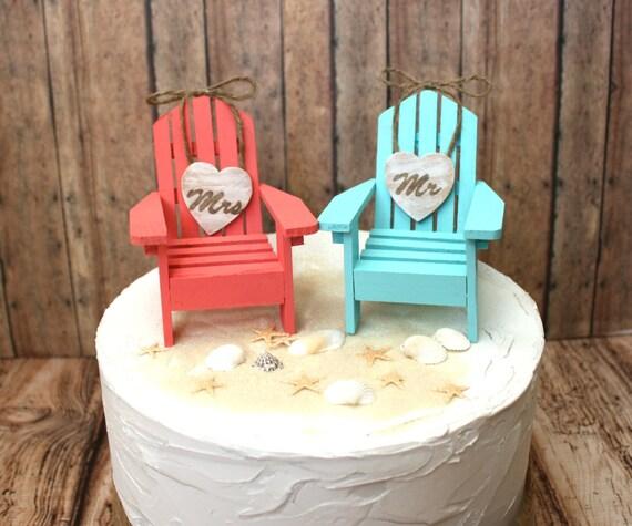 Beach wedding cake topper Adirondack