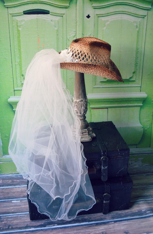 Western Wedding Veil Ivory White Hat Cowgirl Cowboy Boots