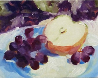 Small Original Apples and Grapes Still Life Oil Painting