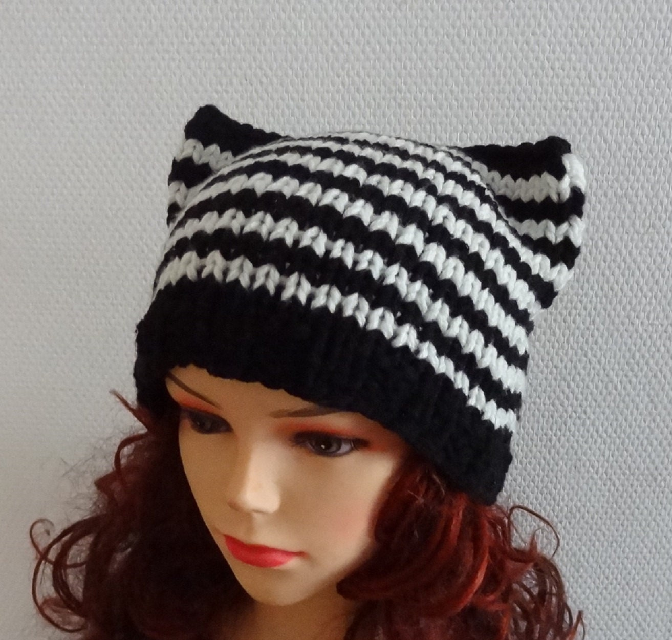 Knitting Pattern For Beanie With Ears : Cat Ears Hat Cat Beanie Chunky Knit Winter Accessories by ...