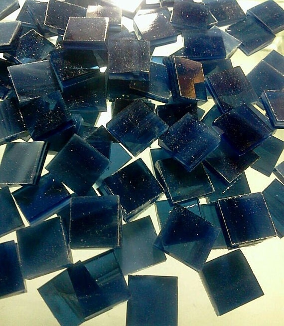 """MIDNIGHT NAVY BLUE Wispy - 50 1/2"""" Stained Glass Mosaic Tile Supply A7"""