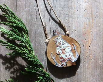 Bear Hugged - Illustrated Wooden Brown Bear Necklace