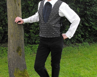 """Legendary Goblin King Fluer Di Lis Wedding Waistcoat / Vest - 40"""" Chest - Silver on Black"""