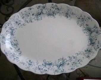 Antique Porcelain Platter - Vintage Porcelain Platter with Blue Floral Design - Pitcairns LTD - Tunstall England - Porcelain Royale