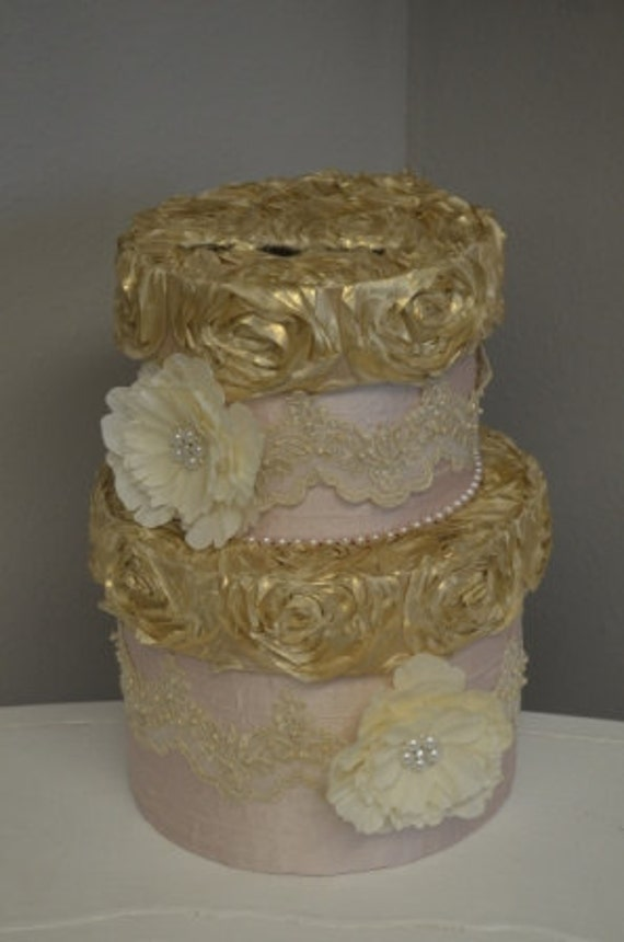 Blush pink and Gold wedding card box with lace, brooches, pearls and peonies