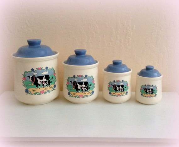 cute cow canisters vintage moo cows white and blue made