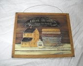 hot baths soap included wooden wall art sign bathroom decor country outhouse plaques