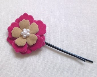 Hair bobby pin pink fabric flower sakura by Orchid's Orchard