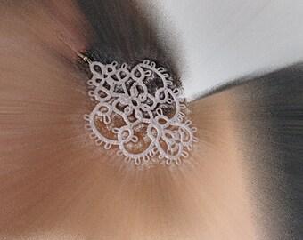 "Tatting earrings ""Snow "" - white earrings - gift for her - party cocktail - OOAK - long earrings - dangle earrings"