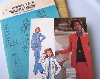 Simplicity 7878  Misses Fitted Suit Jacket - Skirt- Pants - Size 12 - Vintage 70's Sewing Pattern UNCUT
