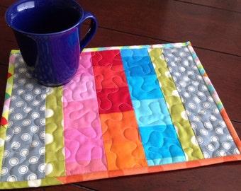 Bold Rainbows Mug Rug - Placemat or Mini Quilt