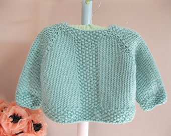 Handmade Baby Sweater..........pastel turquoise pullover