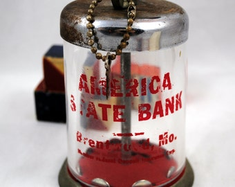 Vintage Bank , Glass and Metal Bank with Red Lock and  Key , American State Bank Brentwood, MO ,  Vintage Advertising Bank ,  Retro , 116