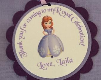 Sofia the first favor tags, Sofia the first party, princess favor tags, princess tags