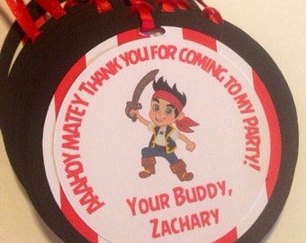 Jake and the Neverland Pirates favor tags, pirate birthday party, pirate theme party