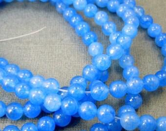 "Dyed Jade Quarzite Beads-- Blue Dyed Jade Round 7mm Beads-- 1 15"" STRAND  (S41B7-01)"