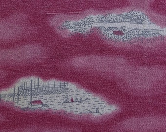 Village scenery in clouds on Japanese kimono silk.