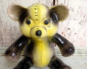 Vintage Teddy Bear flower pot, planter, pottery yellow and black