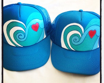 One Hand painted wave heart trucker