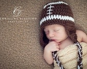 Baby Boy Hat, Crochet Football Hat, Baby Football Hat in Brown and White, Newborn Hat, Crochet Baby Hat, Hat in Brown and White, Photo Prop