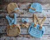 Twin Set in Light Blue and Light Brown, Newsboy Hats, Diaper Covers, Suspenders, and Bow Ties, Photo Prop, Crochet Hats